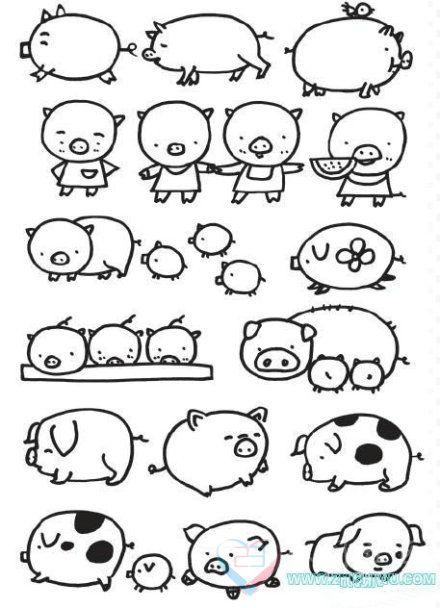 简笔画 教你画各种猪啊 可以画一只送给你的TA 游戏动漫 ii23休闲社区 Powered by Discuz